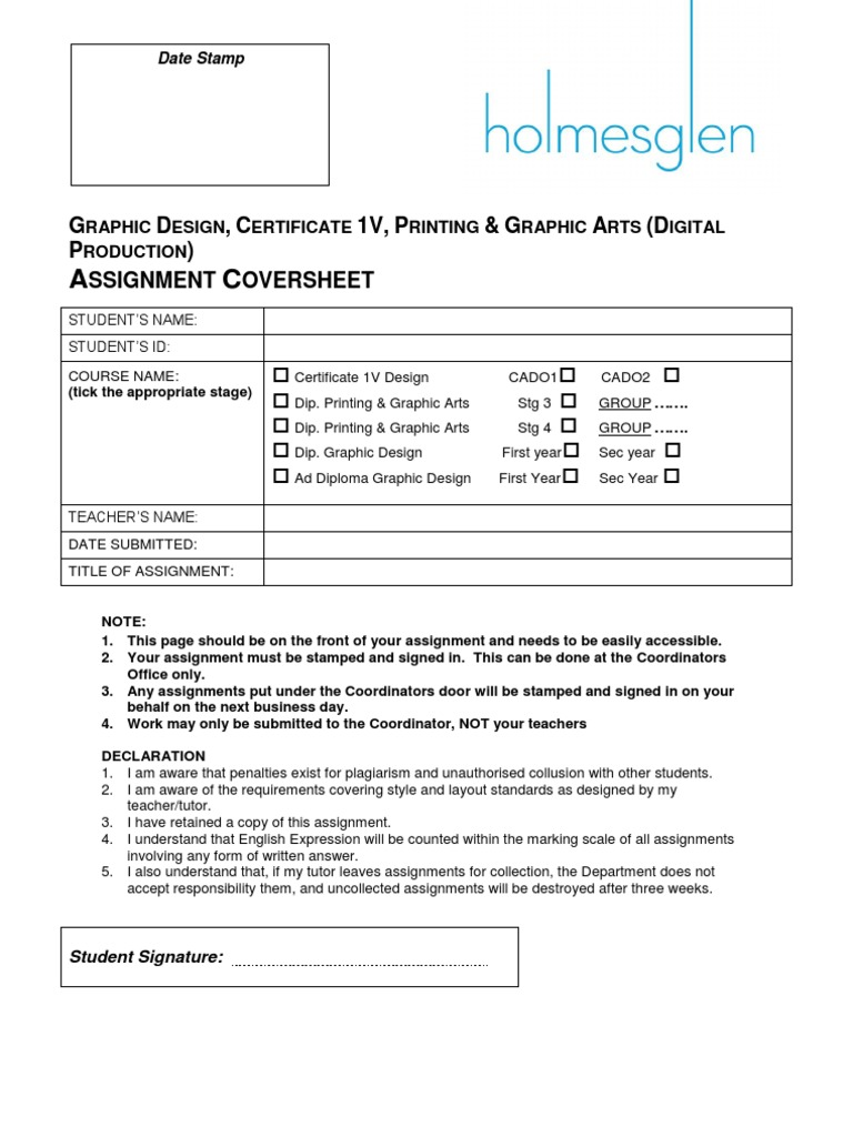 1  Assignment Cover Sheet 2011