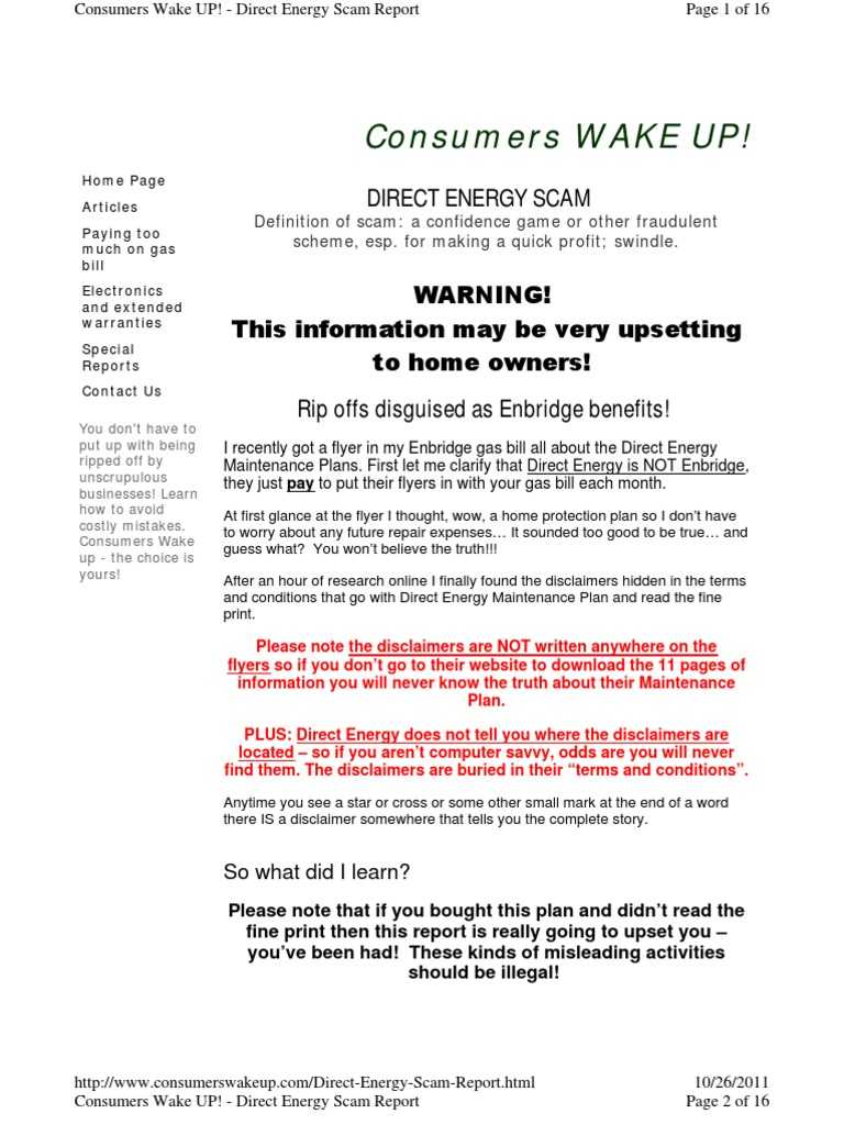 Direct Energy Pay As You Go >> Direct Energy Scam Report Hvac Home Appliance