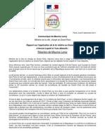 5 décembre 2011- CP Réaction ministre rapport Lepetit - Albarello