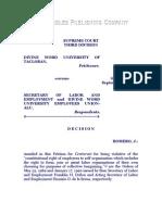 Divine Word University of Tacloban vs. Secretary of Labor and Employment, G. R. No. 91915, Sept. 11, 1992, 213 SCRA 759