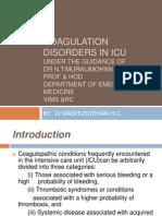 Coagulation Disorders in ICU