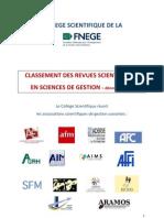 Classement Revue Gestion FNEGE 2011
