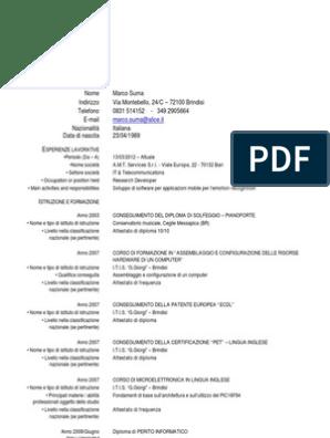 Calendario Esami Ingegneria Unical.Cv Format It Europeo Marco Suma Computer Science
