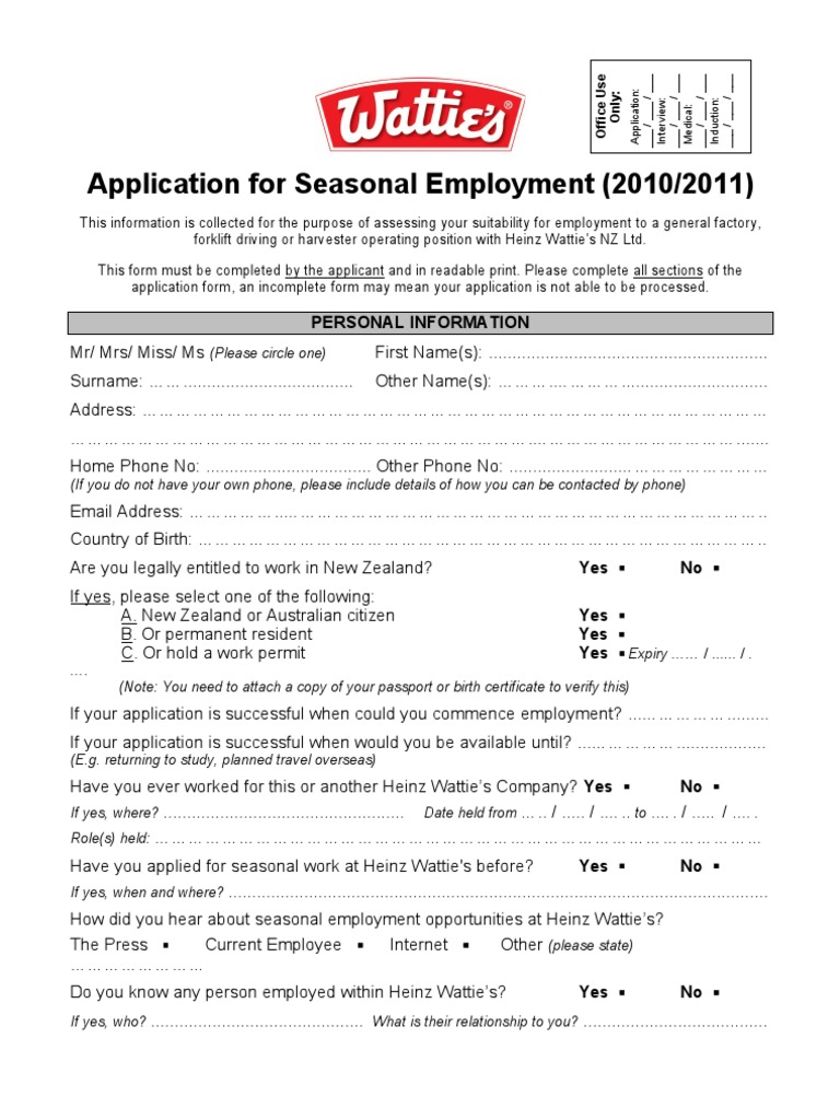 Application For Seasonal Employment 10 11 Drivers License Forklift