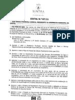 Ordem do Dia da Assembleia Municipal de Sintra de 22 de Dezembro