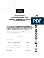 Cima p6 Management Accounting Business Strategy