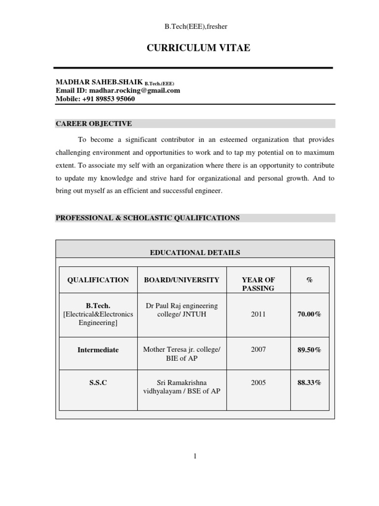 b.tech(EEE 2011),Fresher Resume   Electrical Engineering   Operating ...