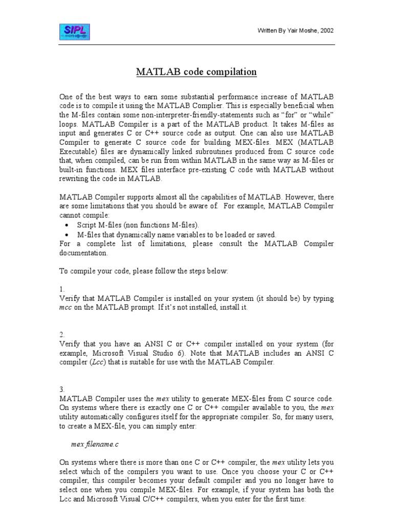 Matlab Compilation   C (Programming Language)   Matlab