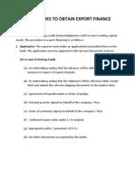 Procedures to Obtain Export Finance