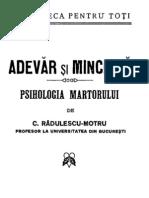 C. Radulescu - Motru - Adevăr şi minciună