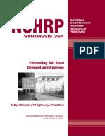 Estimating Toll Road Demand & Revenue--TRB, 2006