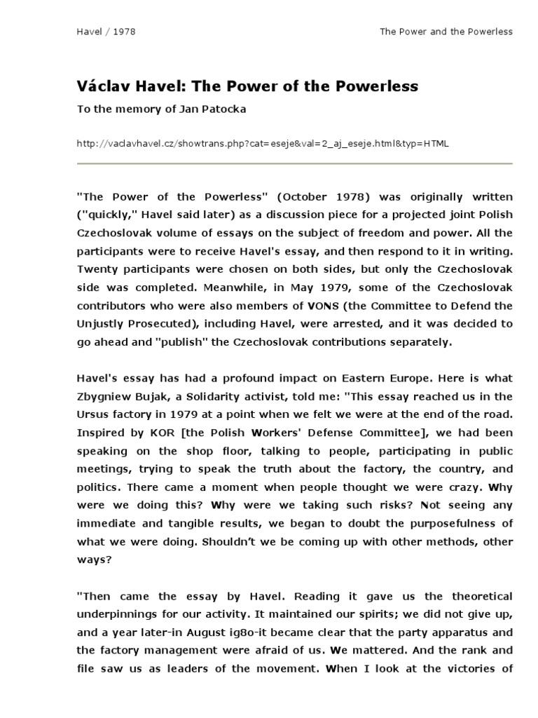 Power of powerless essay extended essay topics russian revolution