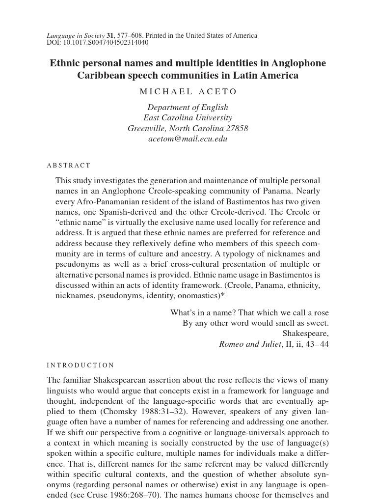 Ethnic Personal Names | Ethnic Groups | Spanish Language