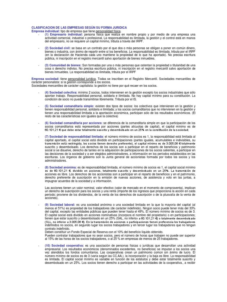 Clasificacion De Las Empresas Según Su Forma Juridica