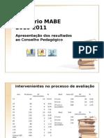 Apresentação dos Relatórios MABE 2010-2011