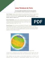 As Zonas Térmicas da Terra