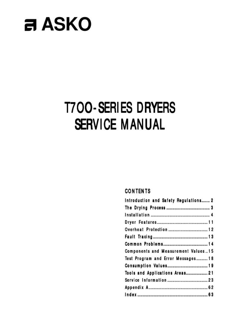 Asko T700 Series Dryer Service Manual Clothes Dryer Washing Machine