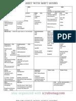 Nurse Brain Sheet With Shift Hours