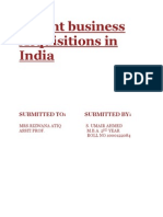 Recent Business Acquisitions in India