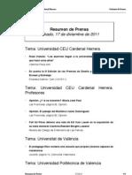 Resumen Prensa CEU-UCH 17-12-2011