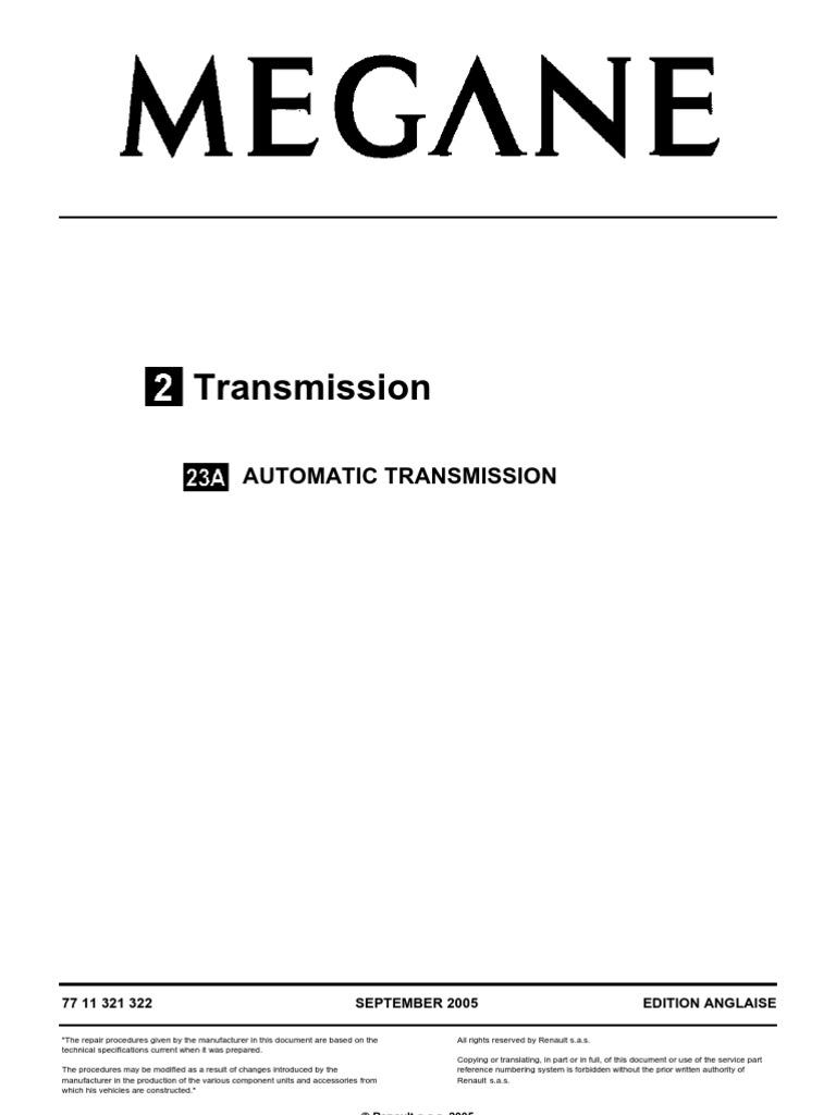 Megane Transmission 23A | Manual Transmission | Electrical