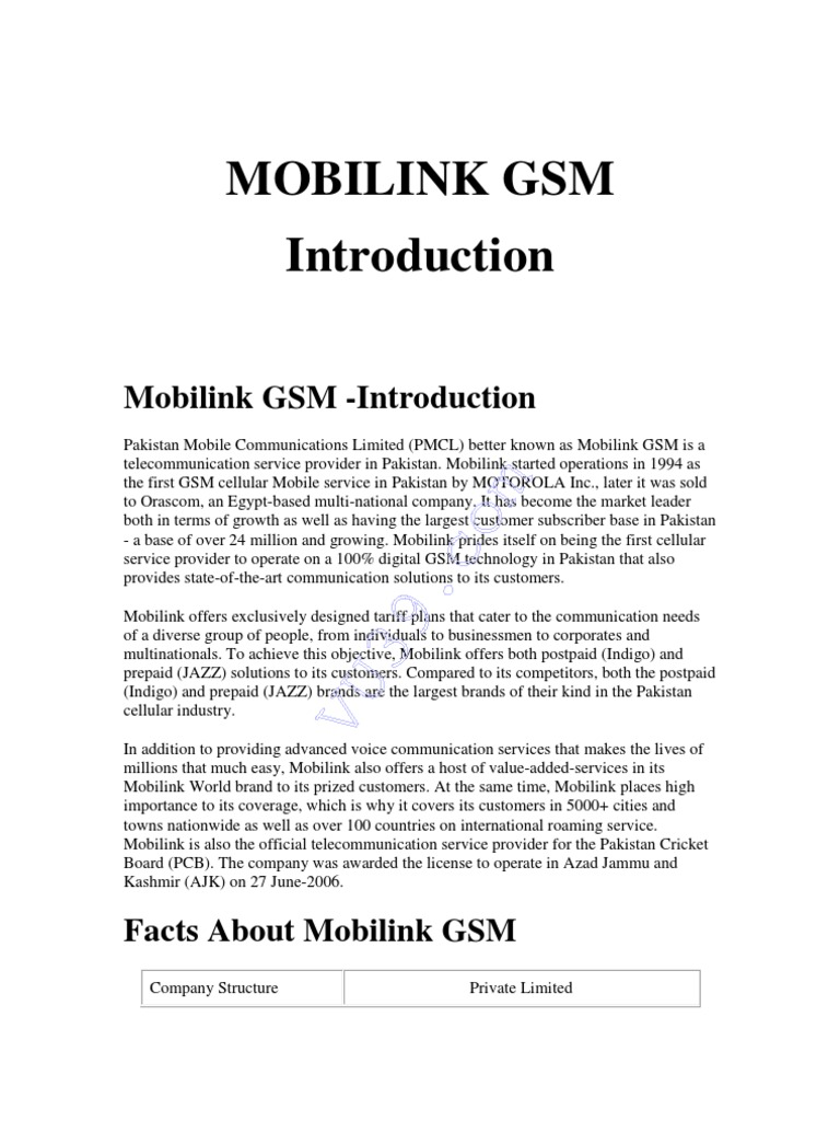 mobilink introduction