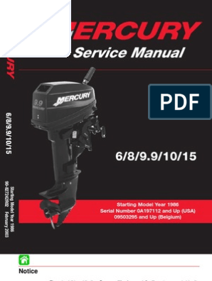 Mercury Download 1986 2003 6 8 9 9 10 15 Hp Service Manual 2 Stroke Internal Combustion Engine Propeller