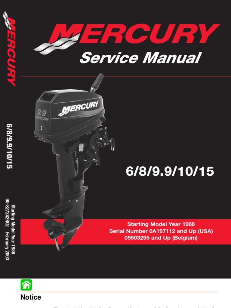 mercury download 1986 2003 6 8 9 9 10 15 hp service manual 2 stroke rh es scribd com Mercury 9.9 Pro Kicker Mercury 9.9 Pro Kicker