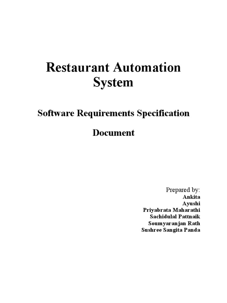 restaurant automation software requirements specification Documents similar to non functional requirements for library management software requirements specification for requirements for library management system.