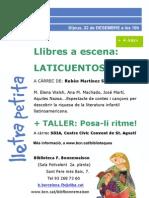 Cartell Llibres a Escena. Laticuentos Desembre 2011