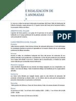 coonvocatoria a TALLER DE REALIZACIÓN DE PELÍCULAS ANIMADAS