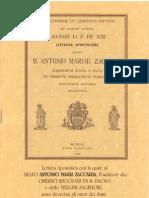 Lettera Apostolica di Leone XIII con la quale al Beato ANTONIO MARlA ZACCARIA, sono decretati gli onori dei santi.