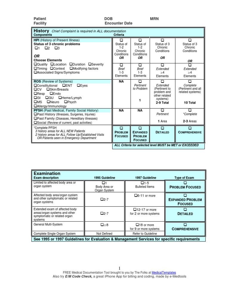 e and m documentation and coding worksheet e m audit worksheet rh scribd com Medicare Rules Sample Medicare Charting for Nurses