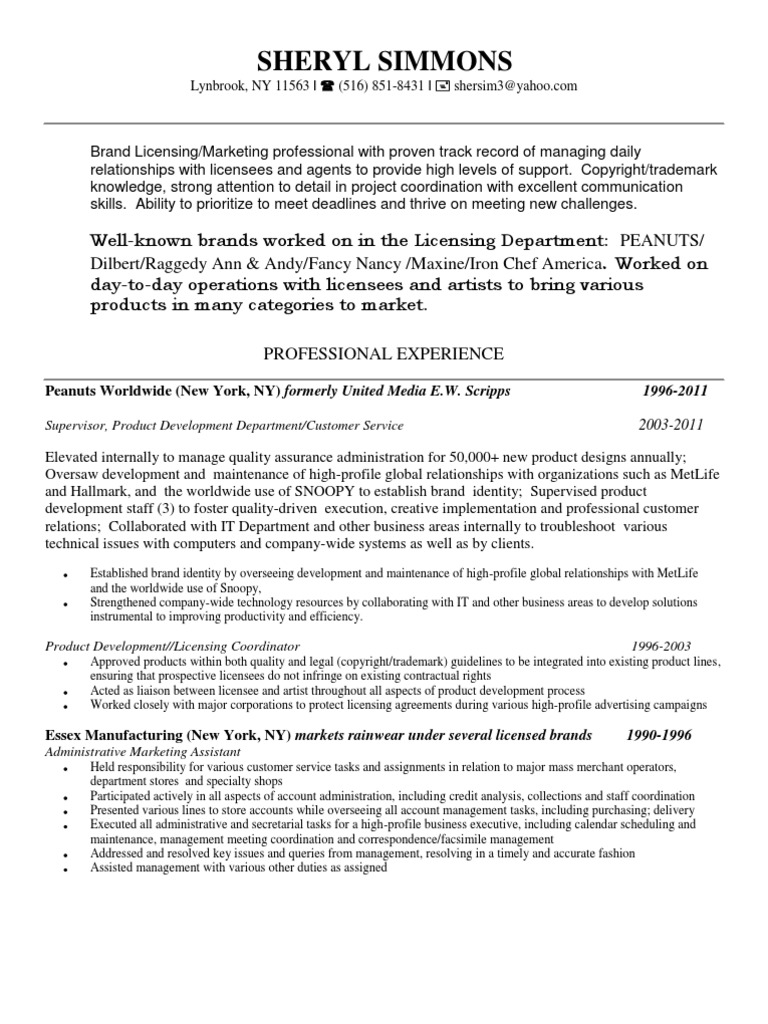 Best Brand Management Resume Nyc Pictures - Best Resume Examples and ...