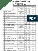 Mesas de Examen Marzo 2012 Immn 4992 Regulares