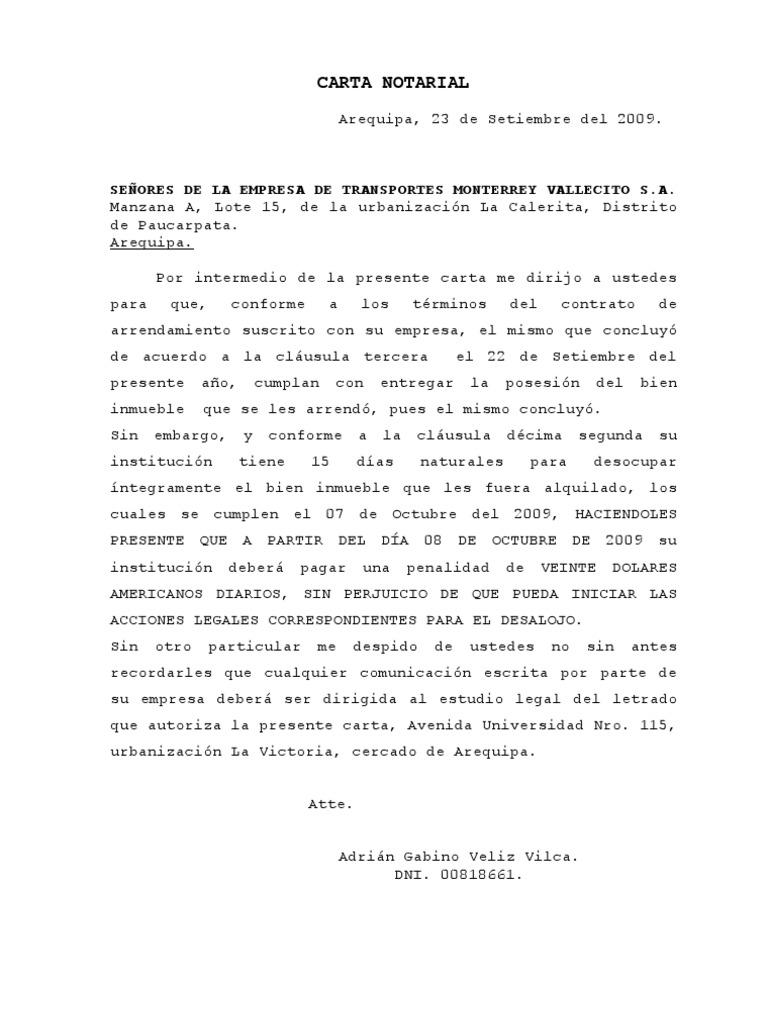 Carta notarial adri n veliz vilca cumplimiento de for Arrendamiento de bienes muebles ejemplos