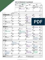 2012 Session Calendar
