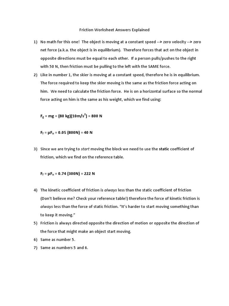 worksheet Coefficient Of Friction Worksheet 1525406827v1