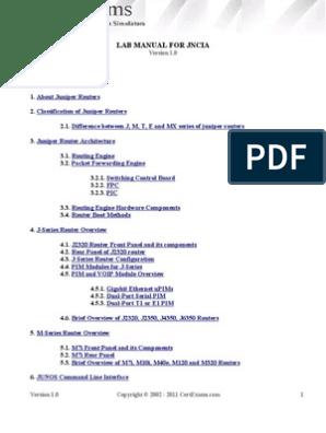 Juniper Lab Manual | Internet Protocols | Network Protocols
