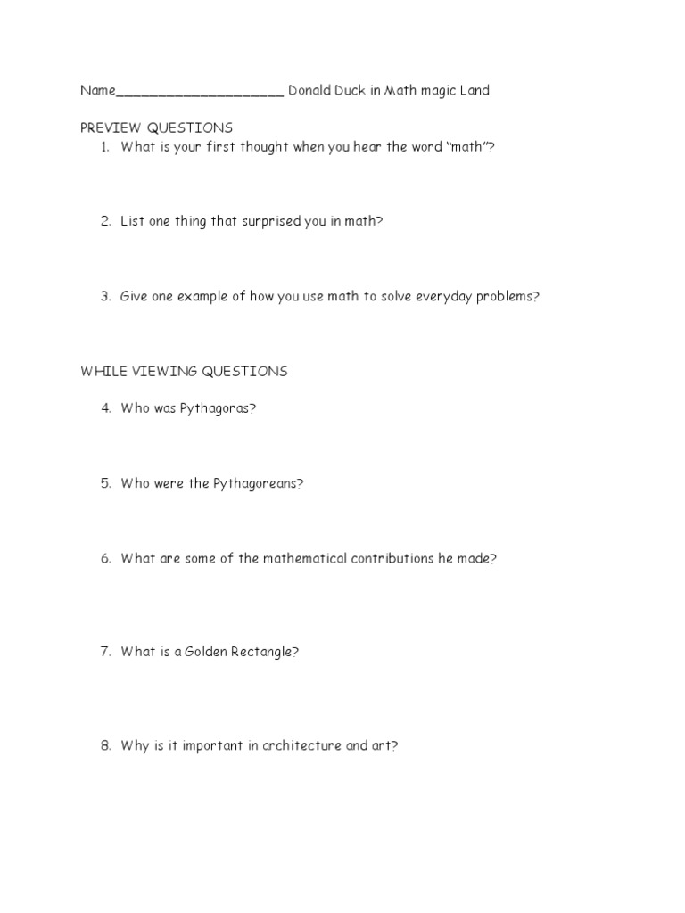 Worksheet Donald In Mathmagic Land Worksheet donald duck in mathmagic land questions