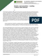Esthetica - On Aesthetics tics and Sensation Reading Baum Gar Ten With Leibniz With Deleuze - 2011-10-17