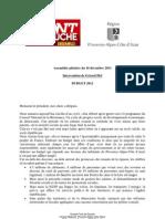 Intervention Gerard Piel budget 2012 conseil régional