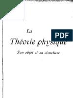 Pierre Duhem, La Theorie Physique, Son Objet, Sa Structure
