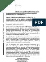 LA ALCALDESA, VOCAL DE LA NUEVA COMISIÓN EJECUTIVA  DE LA FEDERACIÓN DE MUNICIPIOS DE MADRID