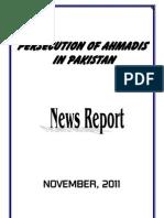 Monthly News Report - Ahmadiyya Persecution in Pakistan - November, 2011