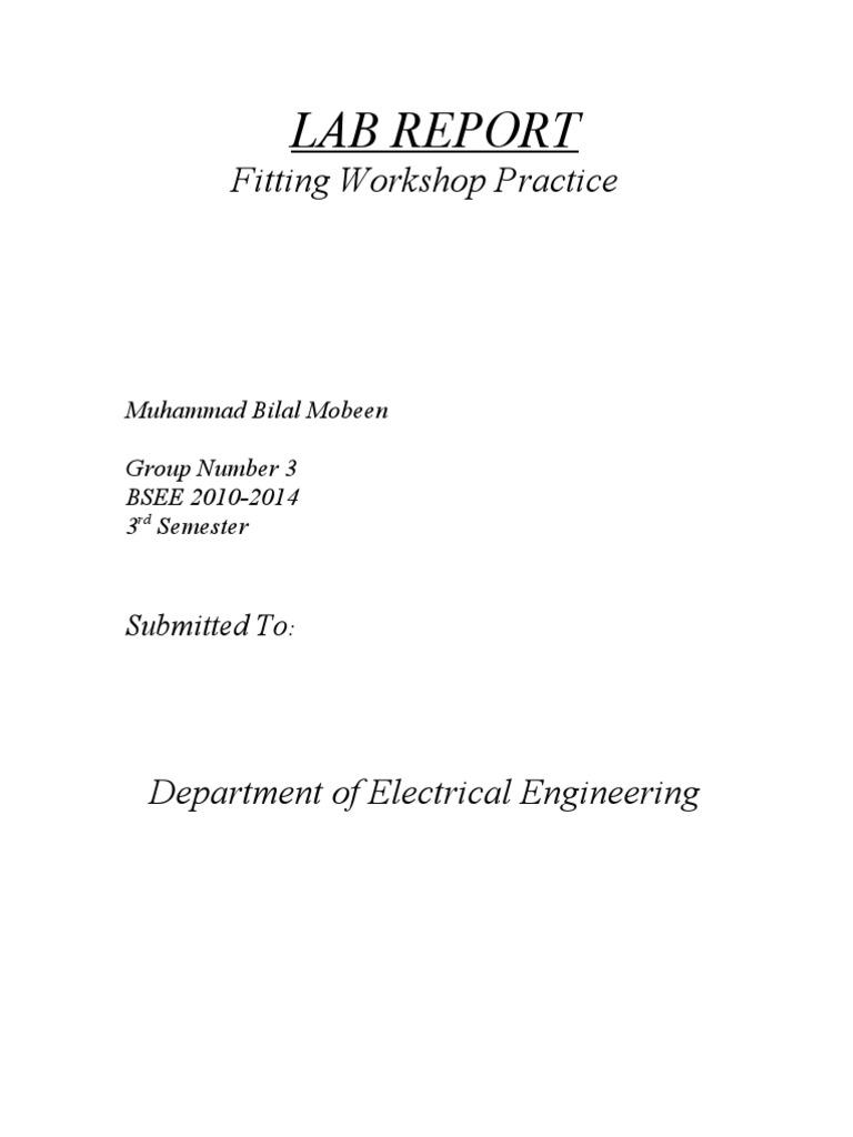 a lab report on fitting workshop practice rh scribd com