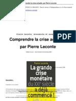 Comp Rend Re La Crise Actuelle Par Pierre Leconte