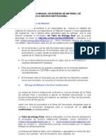Procedimientos o Manual de Entrega de Material de Unidades Internas a Archivo Institucional