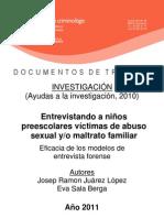 Entrevistando a niños preescolares victimas de abusos sexuales maltrato familiar