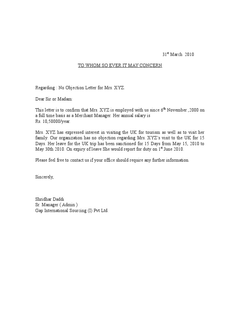 Sample No Objection Letter Certificate Noc 1 – Noc Template
